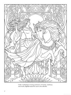 Goddess coloring page - Epona (Celtic)