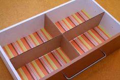 Use cardboard as drawer dividers.