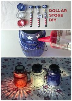 2 Solar Lanterns for of July Easiest dollar store diy decor project ever Just take apart the solar stake lights and glue to the top of these glass votives for an easy Fourth of July diy decor dollarstore diycraft Fourth Of July Decor, 4th Of July Celebration, 4th Of July Decorations, 4th Of July Party, July 4th, 4th Of July Ideas, Fourth Of July Food, 4th Of July Fireworks, 4. Juli Party
