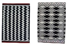 "Also surprisingly affordable, The Conran Shop sells these two striking versions of traditional flatweave kilims; ""Fez"" and ""Marrakesh"". Both are a great size (60"" x 83"" and 71"" x 106"", respectively) and are sold for under $500."