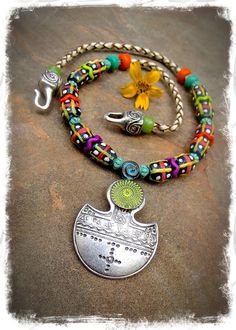 Tuareg SHIELD NECKLACE Boho short chunky necklace silver braided leather Statement necklace African Hippie colorful artisan jewelry GPyoga