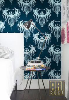 Peacock Feathers  self adhesive DIY wallpaper home by ArtBoardI, $75.00