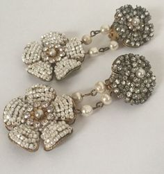 Vintage Signed Miriam Haskell Earrings Faux Seed Pearls And RHINESTONES #MiriamHaskell