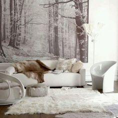 Salon chaleureux aux nuances de blanc