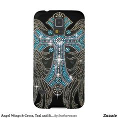 Angel Wings & Cross, Teal and Silver on Black Case For Galaxy S5
