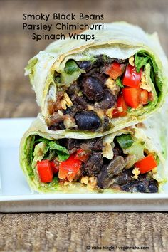 These Smoky black Bean Wraps are filled with veggies and Parsley Chimichurri. How to make bean wraps for easy lunch or snack. Vegan, soy-free gluten-free