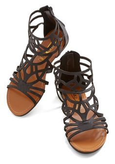 Stained Glass Supplies Sandal - Flat, Faux Leather, Black, Solid, Cutout, Casual, Spring, Summer, Good, Strappy