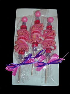 candy kabobs!  cute for valentines, but would be great for as a party favor for any holiday.