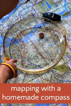 Simple geography science activity with a homemade compass. Perfect for just before a trip.
