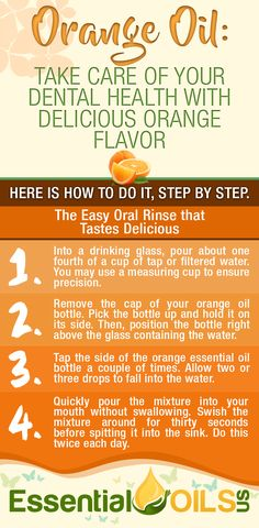 With its powerful antibacterial, antimicrobial and anti-inflammatory properties, orange essential oil can dramatically improve one's oral health. By swishing with a combination of orange oil and water each day, you can kill the bacteria that causes common dental problems like tooth decay, plaque and gum disease.