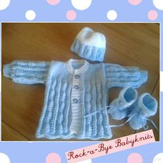 Baby blue set-matinee coat, hat and bootees. To fit 0-3 months. Rock-a-Bye Babyknits
