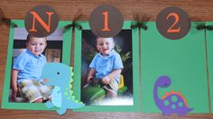 Dinosaur Newborn to 12 Months Photo Banner - Boy's Birthday Party by SimplyBlessedHome on Etsy https://www.etsy.com/listing/182575601/dinosaur-newborn-to-12-months-photo