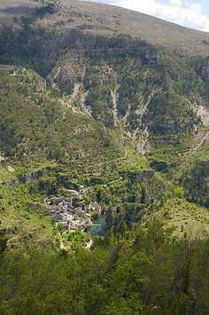 Looking down at Saint Enimie in the Tarn Valley, France