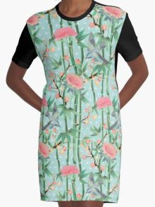 Bamboo, Birds and Blossom - soft blue green Graphic T-Shirt Dress