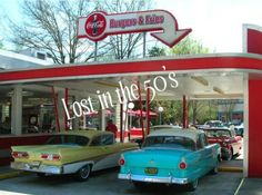 Drive In Restaurants with car hops,just cool ain't it? Could go in or just sit in the car loved sitting in the back seat of mom and dad's car best,shady outside with the roof watch the cars drive by :)