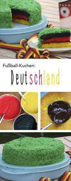 """Der perfekte Kuchen für jede Fußball-Party: Der """"Deutschland-Kuchen"""" zur #EM2016 #Fußball (Rainbow Bread)"""