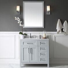 "Ove Decors Tahoe 36"" Single Bathroom Vanity Set with Mirror in Dove Gray"