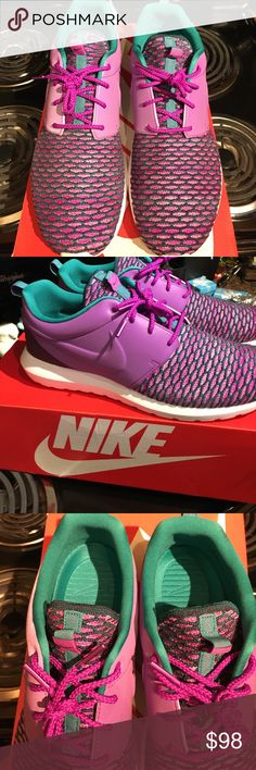 Nike Roshe Flyknits: Purple/Emerald, Men's 12.5🔥! Brand new with box Nike, Men's Nike Roshe Flyknit Purple & Emerald....dope AF!! Men's 12.5, very rare color wave and just purchased the last 12.5 from my source. Brand new, just came in the mail today. Won't last long so come get em! Nike Shoes Sneakers