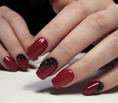Bright fashion nails, Classic red nails, Evening nails, Festive nails, Long nails, Manicure 2018, Nails trends 2018, Nails with stones
