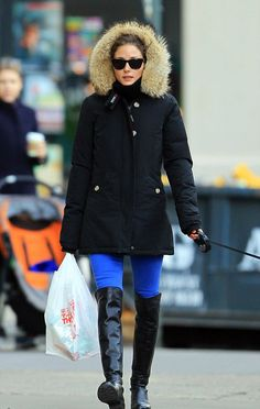 for cold days - electric blue pants, tall boots & a warm parka