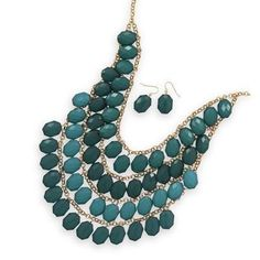 Four Tier Gold Tone Emerald Green Bead Fashion Set
