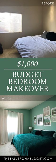 Is it possible to make over a whole room with a budget of $1,000? It is! See how we made over our guest bedroom and stayed within our budget. - www.theballeronabudget.com Blue Living Room Decor, Blue Home Decor, Blue Bedroom, Bedroom Color Schemes, Bedroom Colors, Bedroom Decor, Blue Kitchen Inspiration, Budget Bedroom, Blue Furniture