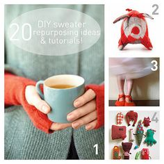 20 repurposed sweater DIY tutorials and ideas.