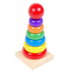 New Design Kids Baby Toy Wooden Stacking Ring Tower Educational Toys Rainbow Stack Up FCI#
