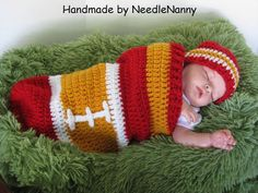 Kansas City Chiefs Cocoon and Hat Set Swaddle Sack Handmade Cocoon Photo Props Newborn Costume Football Clothing Newborn Shower Gifts