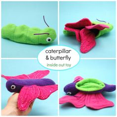 See that cute little green caterpillar? She has a secret! When you turn her inside out she transforms into a sparkly purple butterfly! This clever softie is fun to make and fun to play with. And...