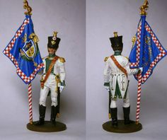 """Officer of the infantry regiment of """"Real Calabria"""" with a banner, Naples 1812 Painted figure, made of white metal. Reggio, Metallica, Banner, Painting, Etsy, Art, Figurative, Banner Stands, Art Background"""