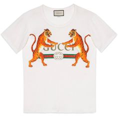 Gucci Logo With Tigers T-Shirt ($620) ❤ liked on Polyvore featuring tops, t-shirts, ivory, print t shirts, white logo t shirts, 80s t shirts, gucci tee and white top