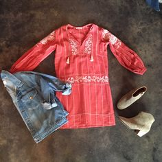 Ulla Johnson Dalia Dress | The Great Jean Jacket | Isabel Marant Dicker Boot