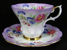 ROYAL ALBERT PURPLE FLORAL BOUQUET TEA CUP AND SAUCER