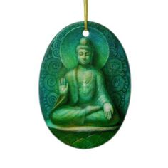 The Green Buddha Oval Christmas Ornament from http://www.zazzle.com/buddha+ornaments