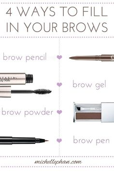 And your fill-in tools. | 16 Diagrams To Get The Eyebrows Of Your Dreams // I'll take all the help I can get when it comes to eyebrows...