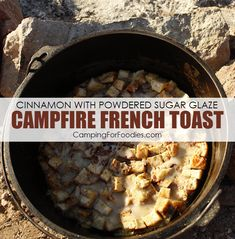 camp breakfast This campfire French toast recipe is a CampingForFoodies baked Dutch oven French toast and is filled with spices including cinnamon, nutmeg and cloves making this camping French toast sweet with a powdered sugar glaze. Camping Desserts, Camping Meals, Camping Recipes, Camp Oven Recipes, Camping Food Checklist, Camping Cooking, Backpacking Food, Camping Stuff, Camping Essentials