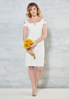 Aisle be Right With You Sheath Dress in White. The only thing more thrilling than celebrating your love and commitment is debuting this white sheath dress by Adrianna Papell! #white #bride #modcloth