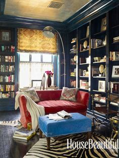 """""""A Red, White, and Blue Library With a Bohemian Twist"""" -- House Beautiful Pinterest Favorite Pins February 11, 2014 -- """"Red, white, and blue gets a bohemian twist in the library of a Georgetown house, designed by Hillary Thomas and Jeff Lincoln, with lacquered walls, a silver ceiling, and ethnic textiles."""""""