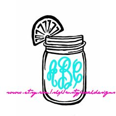 Sweet Tea Vinyl Decal, Your Choice of Color, Fancy Monogram, Mason Jar, Southern Charm, Monogram Gifts, For Her, Ball Jar, Lemon, Girlie. by RustyPeachDesigns on Etsy