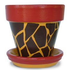 Back To School Teacher Gift Giraffe Animal Print Terra Cotta Flower Pot Planter - 4-inch pot
