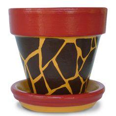 Back To School Teacher Gift Giraffe Animal Print Terra Cotta Flower Pot Planter - 4-inch pot