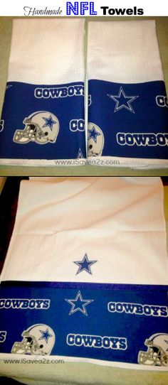 Homemade NFL Towels!!  NO SEWING req'd!!  Easy and too cute!!