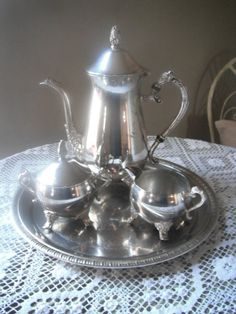SALE 4 piece vintage silver plated tea set, shabby chic, country cottage