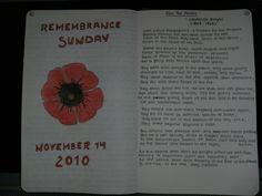 Handwritten journal by Dolly Garland at Eggen Journaling Remembrance Sunday, Commonplace Book, Kaizen, Journal Notebook, Creative Writing, Handwriting, Journaling, Hand Written, Poem