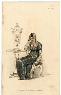 Women 1800-1819 Part 1, Plate 090 :: Costume Institute Fashion Plates. Evening mourning dress, 1810