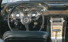 """""""The 1967 Ford Mustang""""  The '67 Mustang's jazzy new """"twin cowl"""" dashboard allowed for integrated air-conditioning and was unique to Mustang, part of Ford's effort to give the  pony car a more upscale persona."""