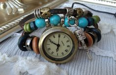 Turquoise Leather Wrap Watch 54% off at Groopdealz