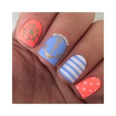 18 Easy Summer Nail Art for Short Nails ❤ liked on Polyvore featuring beauty products, nail care and nail treatments