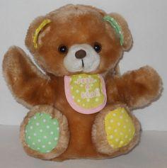 "Gerber Peek A Bear Boo Hand Puppet 8"" Baby Teddy Plush Stuffed Animal Toy VTG #Gerber"